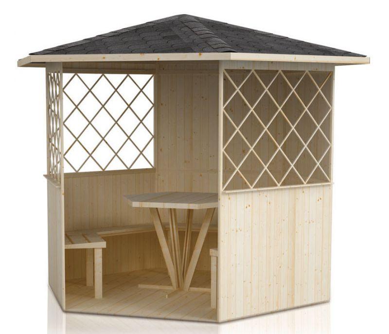 Pavillon Waldesruh - Leveringsomvang: incl. vloer, incl. banken, incl. tafel
