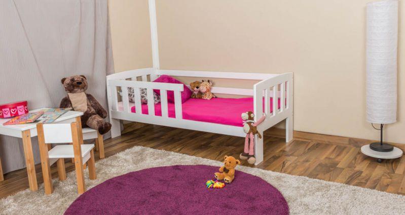 kinderbed met valbescherming massief grenenhout, wit gelakt A17, incl. lattenbodem - afmetingen 70 x 160 cm - inclusief matras