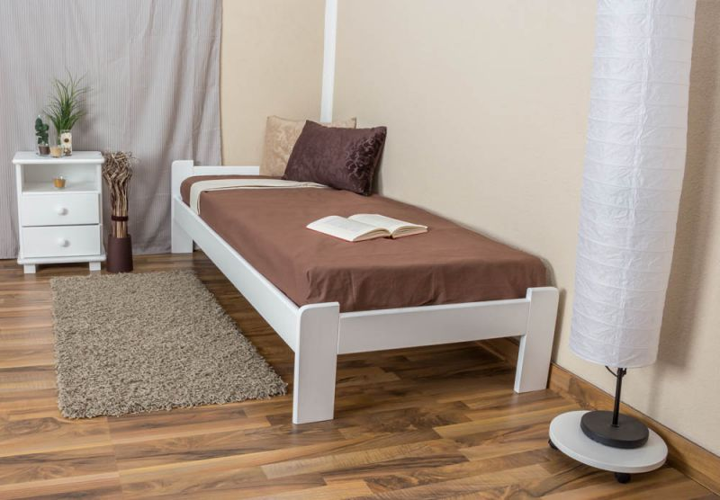eenpersoonsbed / logeerbed massief grenenhout, wit gelakt A8, incl. lattenbodem - afmetingen: 80 x 200 cm