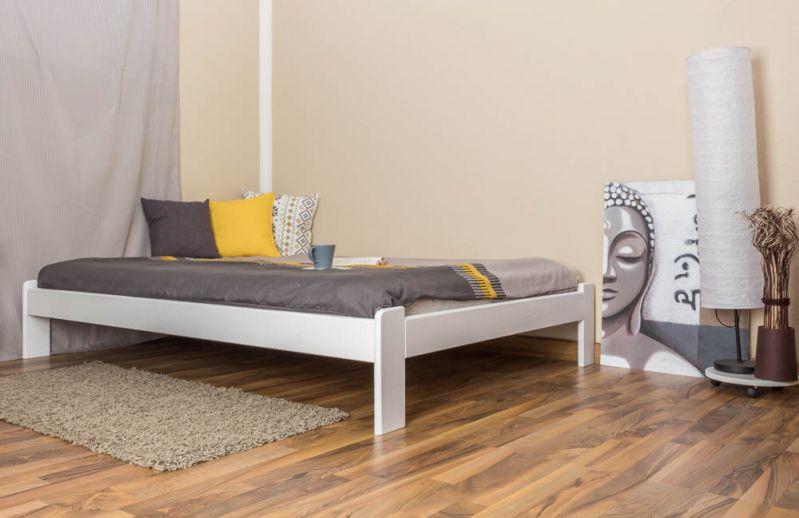 Futonbed / , vol hout, bed massief grenen wit gelakt A10, incl. lattenbodem - afmetingen 140 x 200 cm