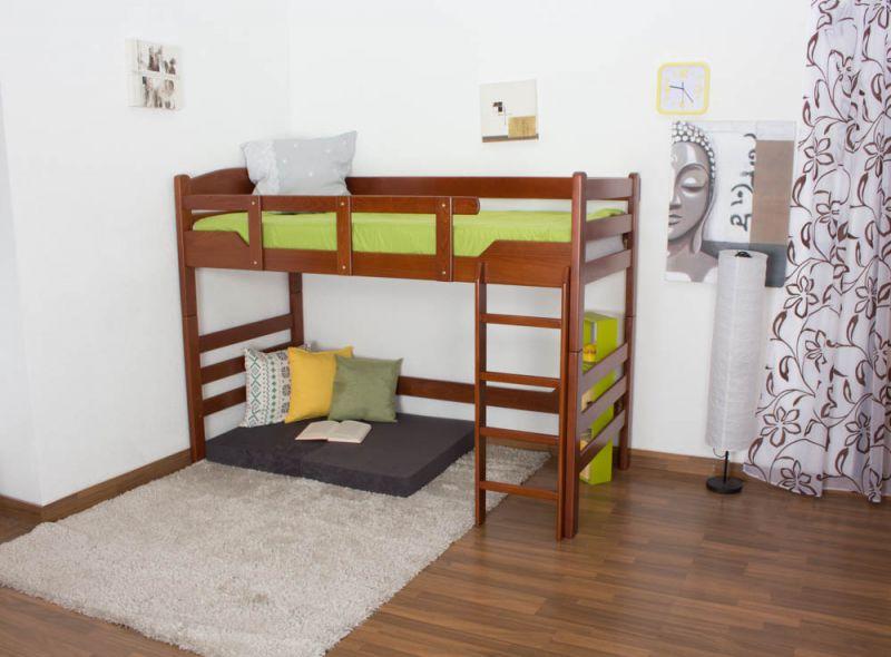 """kinderbed/Hoog bed """"Easy Premium Line"""" K14/n, massief beukenhout kleur: kersenhout - afmetingen: 90 x 200 cm"""