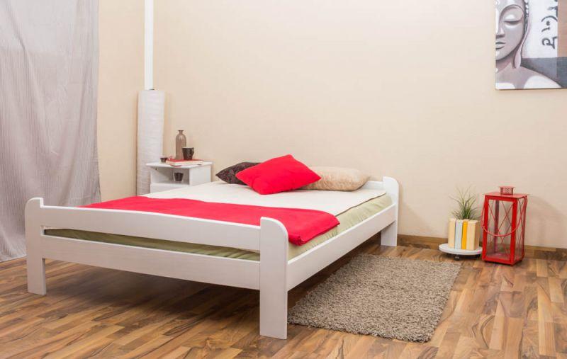 Futonbed / , vol hout, bed massief grenen wit gelakt A11, incl. lattenbodem - afmetingen 140 x 200 cm