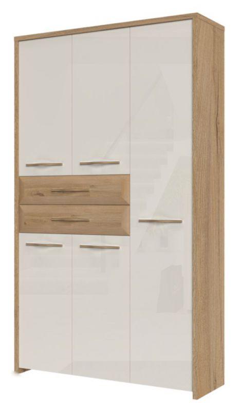 Draaideurkast / kledingkast Gataivai 22, kleur: beige hoogglans / noten - 192 x 114 x 36 cm (H x B x D)