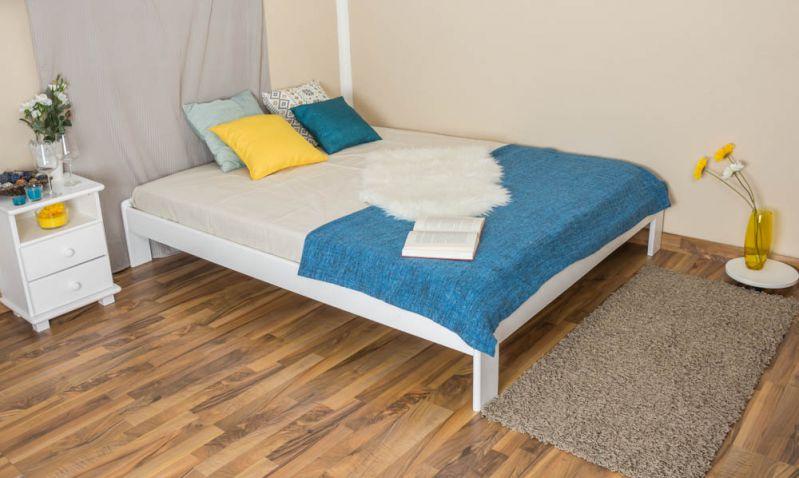 Futonbed / , vol hout, bed massief grenen wit gelakt A10, inclusief lattenbodem - afmetingen 160 x 200 cm