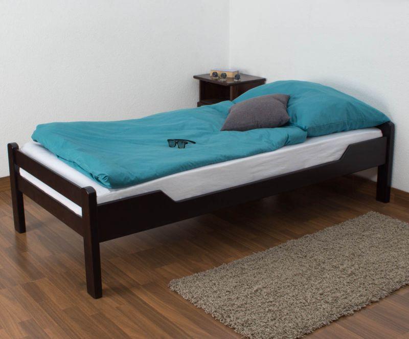 """Eenpersoonsbed """"Easy Premium Line"""" K1/1n, massief beukenhout kleur: chocoladebruin - Afmetingen: 90 x 200 cm"""