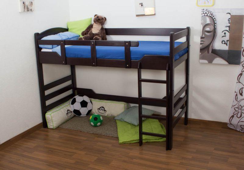 """kinderbed/Hoog bed """"Easy Premium Line"""" K14/n, massief beukenhout kleur: chocoladebruin - afmetingen: 90 x 190 cm"""