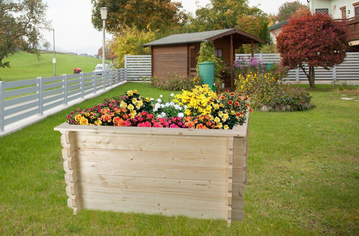 Verhoogd bed tuin Gartenfreude gemaakt van blokhutprofielplanken - basisafmeting: 148 x 98 cm, plankdikte: 28 mm