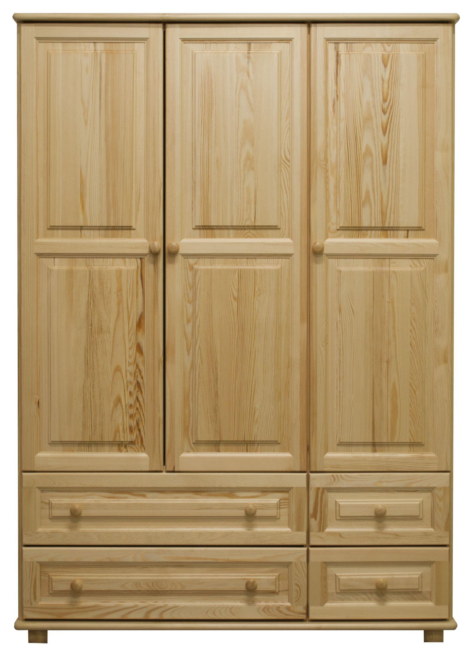 Kledingkast massief grenenhout natuur 017 - Afmetingen 190 x 133 x 60 cm (H x B x D)