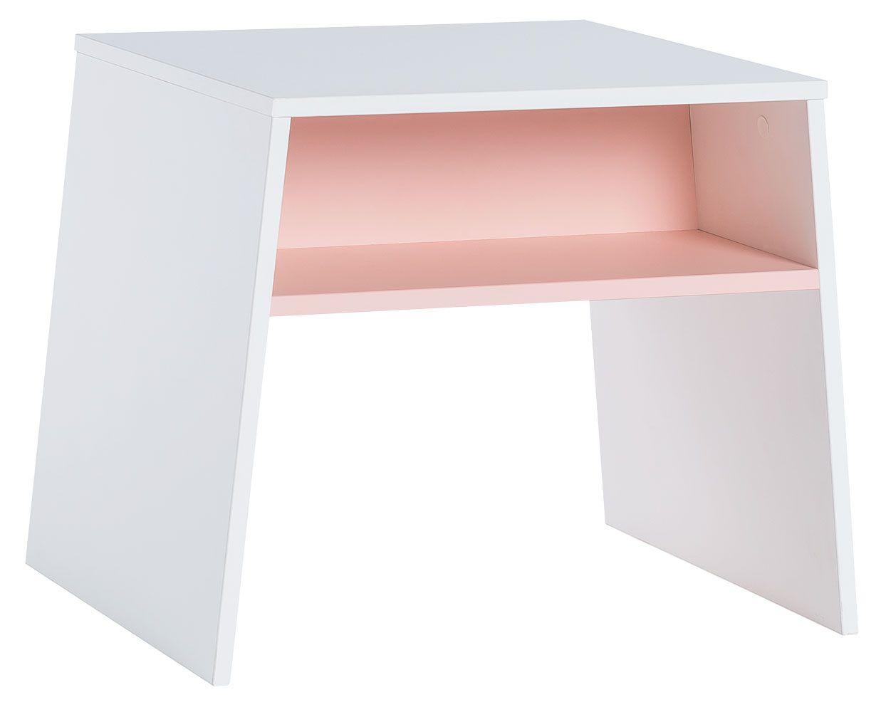 Kindertafel Irlin 02, kleur: wit / roze - afmetingen: 49 x 60 x 50 cm (h x l x d)