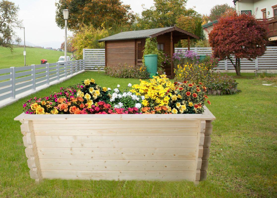 Verhoogd bed tuin Gartenfreude gemaakt van blokhutprofielplanken - basisafmeting: 198 x 98 cm, plankdikte: 44 mm