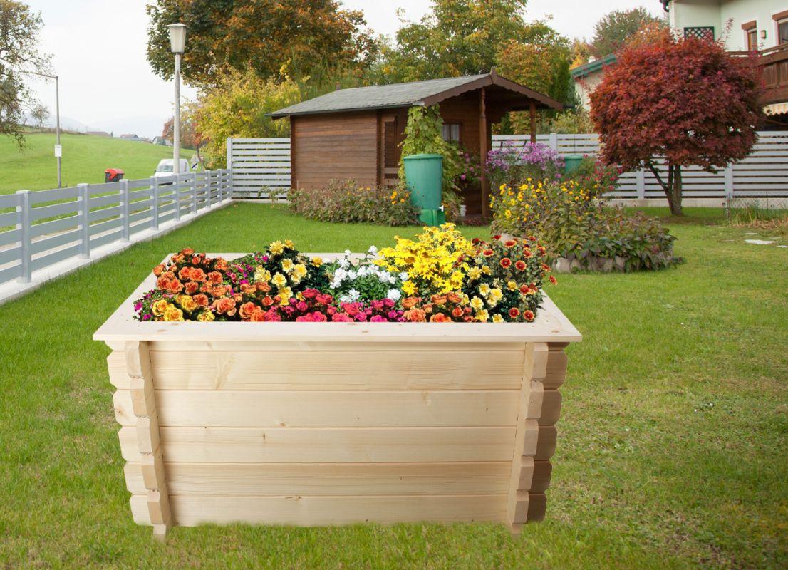 Verhoogd bed tuin Gartenfreude gemaakt van blokhutprofielplanken - basisafmeting: 148 x 98 cm, plankdikte: 44 mm