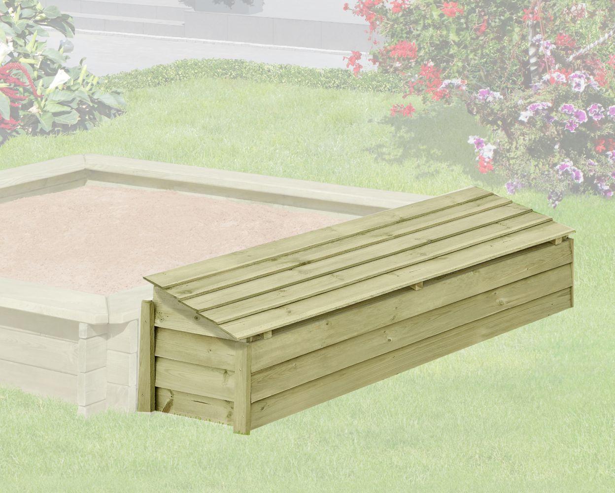 Houten kist met scharnierend deksel 01 - vervaardigd uit grenen hout, FSC® - afmetingen: 147 x 43 x 39 cm (B x D x H)