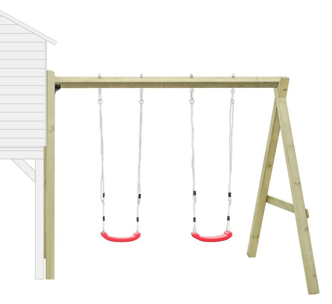 Aanbouw dubbele schommel 02 voor kinderspeelhuisje, FSC®