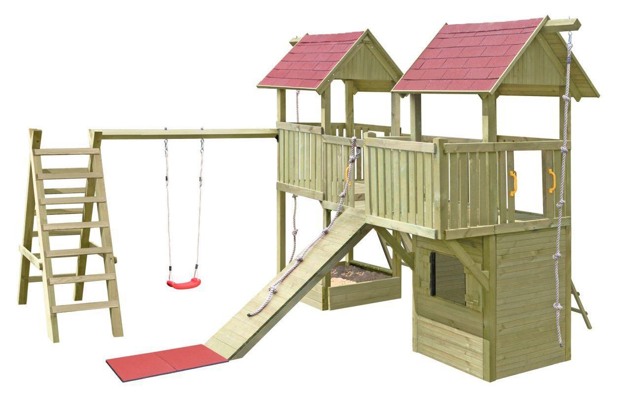 Speeltoren K32 incl. twee torens, shingles dak, houten brug, enkele schommel en zandbak FSC®