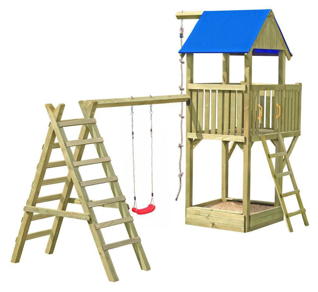 Speeltoren K28 incl. balkon, zandbak en enkele schommel FSC®
