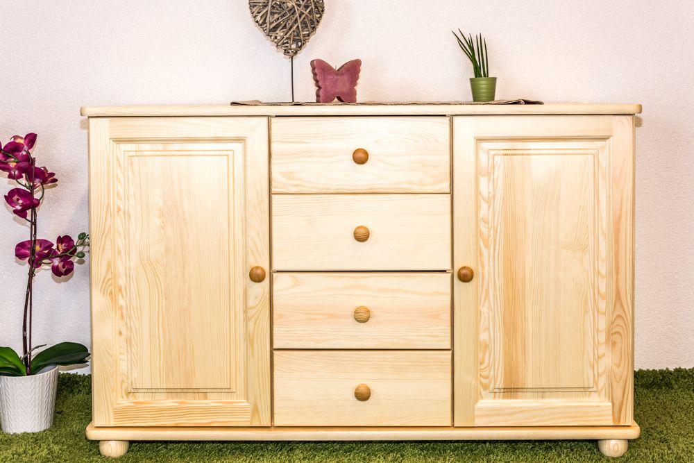 dressoir / ladekast massief grenen, natuur Junco 173 - Afmetingen: 78 x 121 x 42 cm (H x B x D)