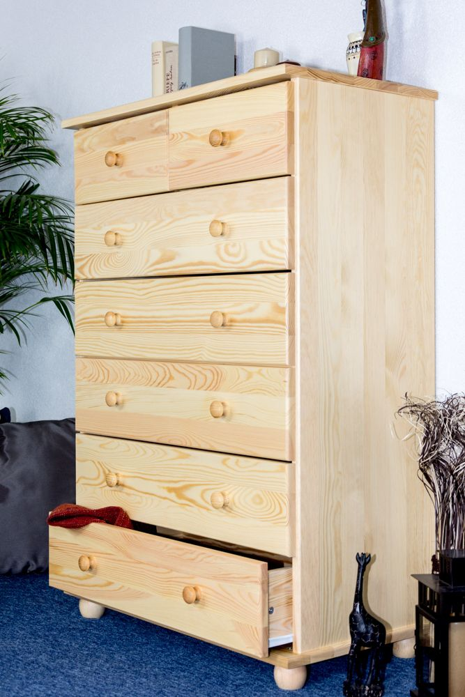 dressoir / ladekast massief grenen, natuur Junco 134 - Afmetingen: 118 x 80 x 42 cm (H x B x D)