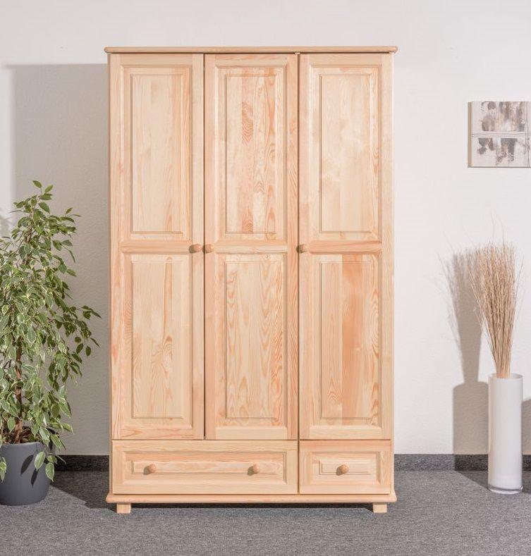 Kledingkast massief grenenhout natuur 015 - Afmetingen 190 x 133 x 60 cm (H x B x D)