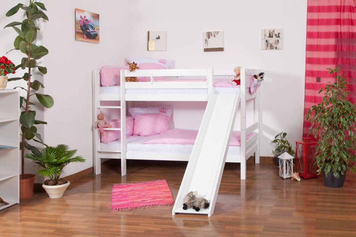 Kinderstapelbed Moritz massief beukenhout, wit gelakt met glijbaan incl. rol lattenbodem - 90 x 200 cm, deelbaar