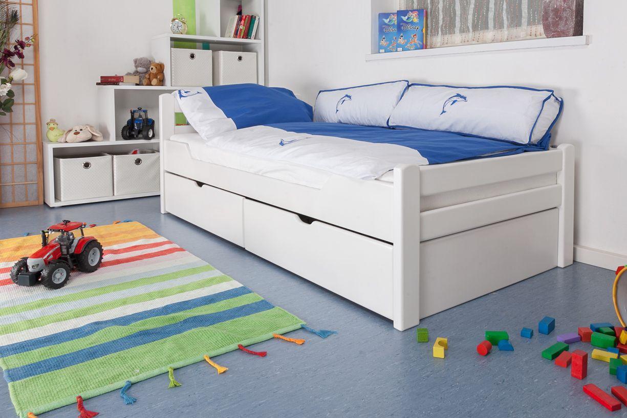 """Kinderbed / jeugdbed """"Easy Premium Line"""" K1/2n incl. 2 laden en 2 afdekpanelen, 90 x 200 cm massief beukenhout, wit gelakt"""
