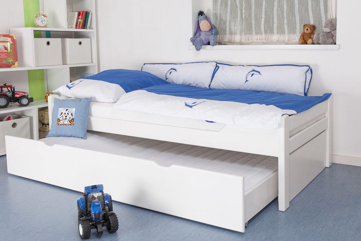 """kinderbed / jeugdbed """"Easy Premium Line"""" K1/1h incl. 2e onderschuifbed en 2 afdekpanelen, 90 x 200 cm massief beukenhout wit gelakt"""