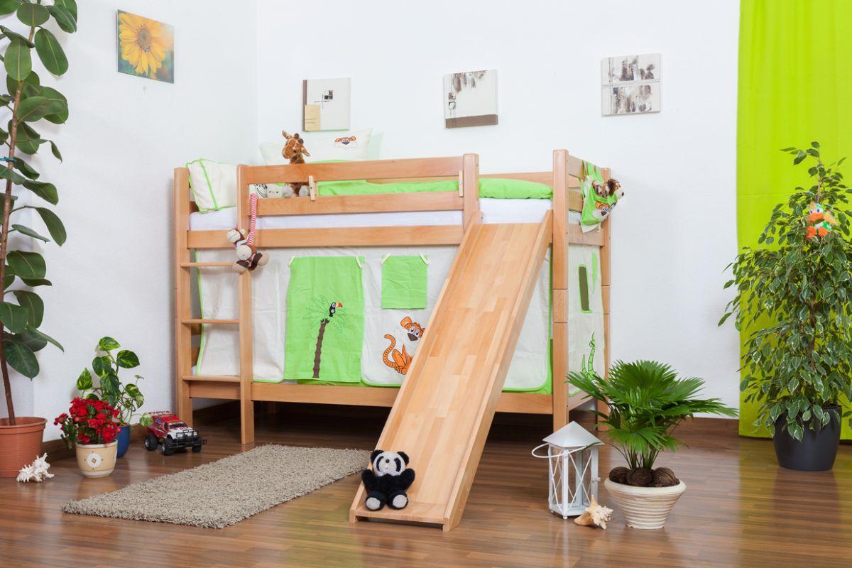 Kinderbed stapelbed Moritz beuken massief hout met glijbaan incl. rol lattenbodem - 90 x 200 cm, deelbaar
