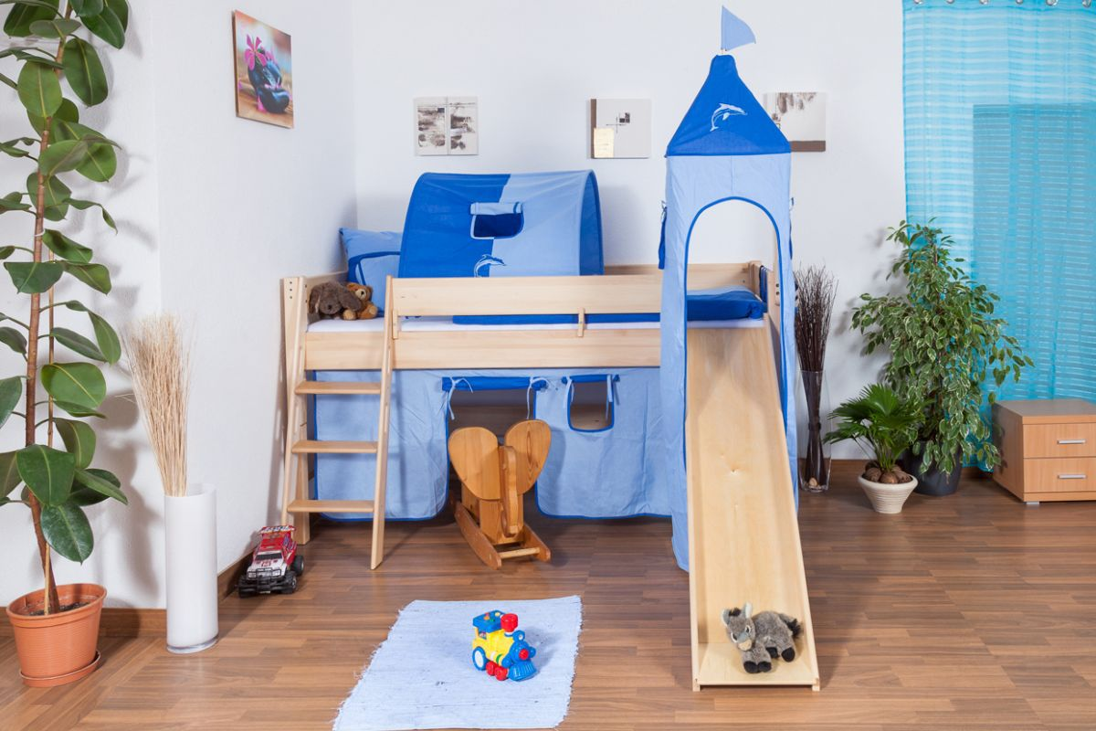 Kinderbed /hoog bed Tom met glijbaan en toren incl. rol lattenbodem  - Materiaal: massief beuken natuur, kleur: blank gelakt