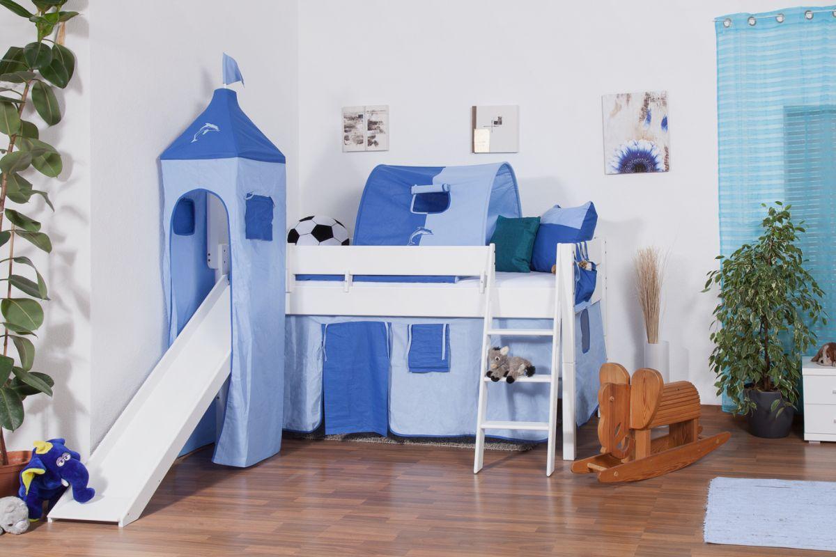 Kinderbed met glijbaan en toren incl.  rol lattenbodem - Materiaal: massief beukenhout, kleur: wit gelakt