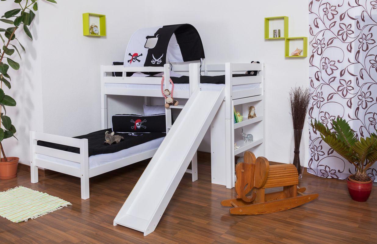 Stapelbed / speelbed Moritz L massief wit gelakt beukenhout met open kast en glijbaan, incl. rol lattenbodem - 90 x 200 cm, deelbaar