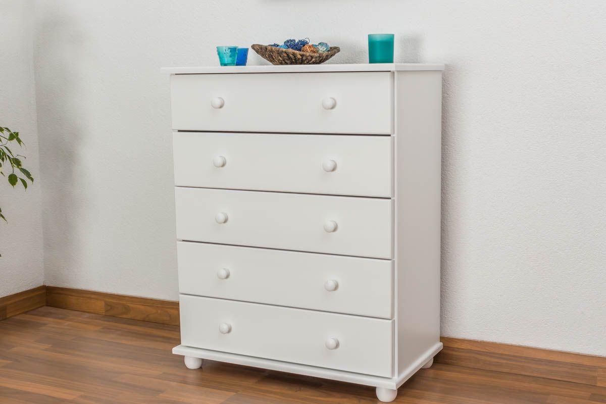 dressoir / ladekast massief grenen, wit gelakt Junco 136 - Afmetingen 100 x 80 x 42 cm