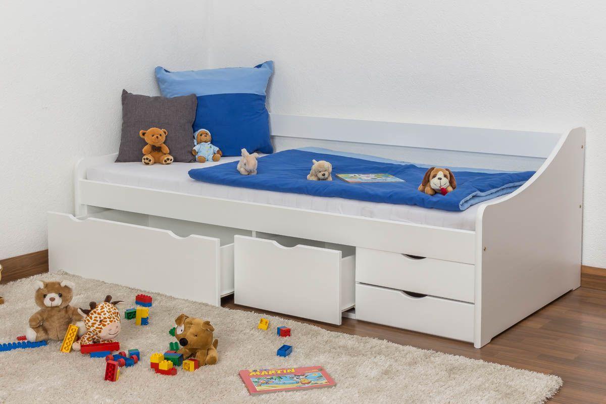 tienerbed / jeugdbed / bed met opbergruimte  massief grenen,, wit gelakt 94, incl. lattenbodem - 90 x 200 cm
