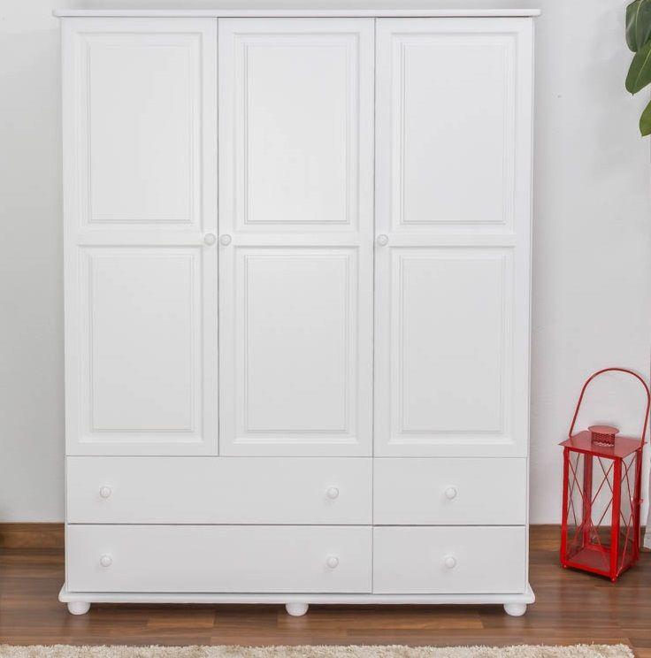 kledingkast massief grenen, wit gelakt Junco 03 - Afmetingen 195 x 155 x 59 cm