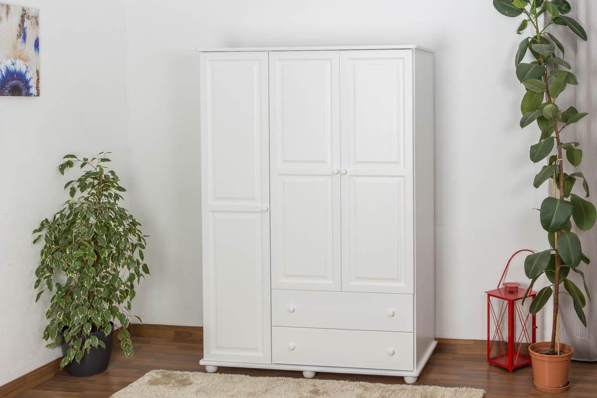 kledingkast massief grenen, wit gelakt Junco 06 - Afmetingen 195 x 135 x 59 cm