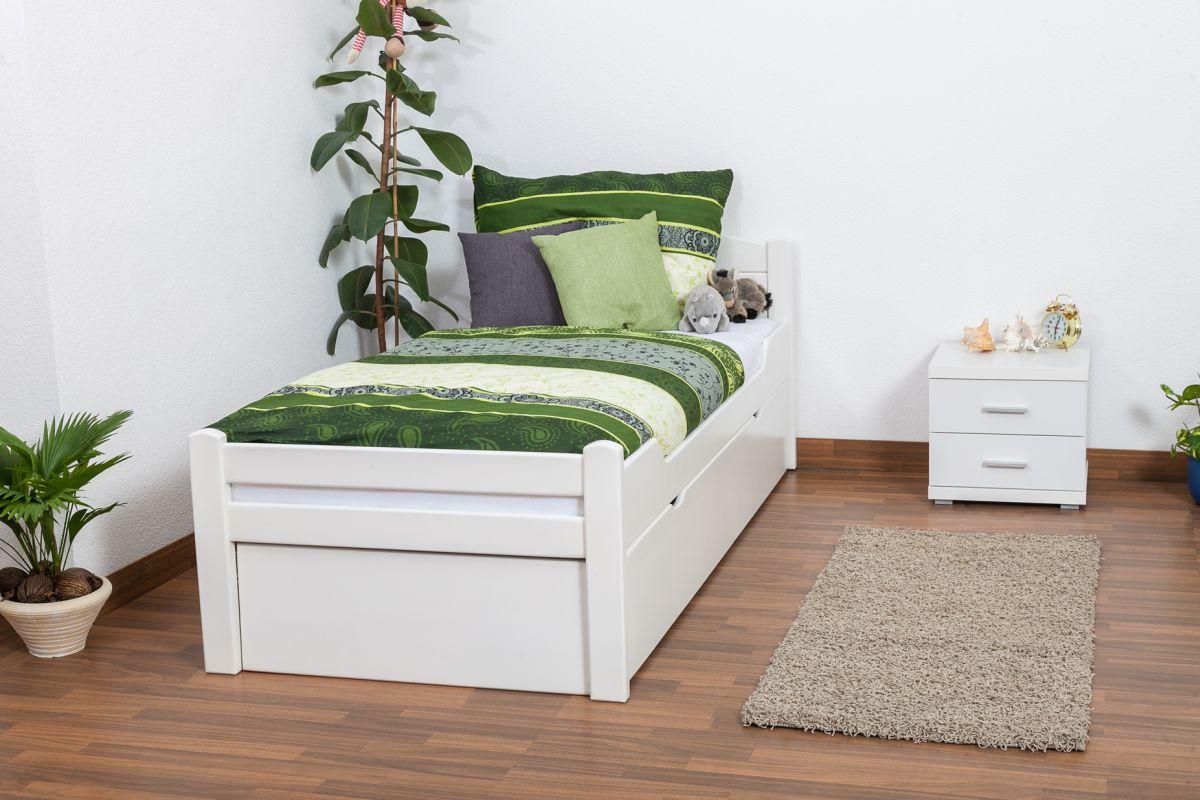 """Eenpersoonsbed / stapelbed """"Easy Premium Line"""" K1/h Volledig incl. 2e slaapplaats en 2 afdekplaten, 90 x 200 cm massief beukenhout wit gelakt"""