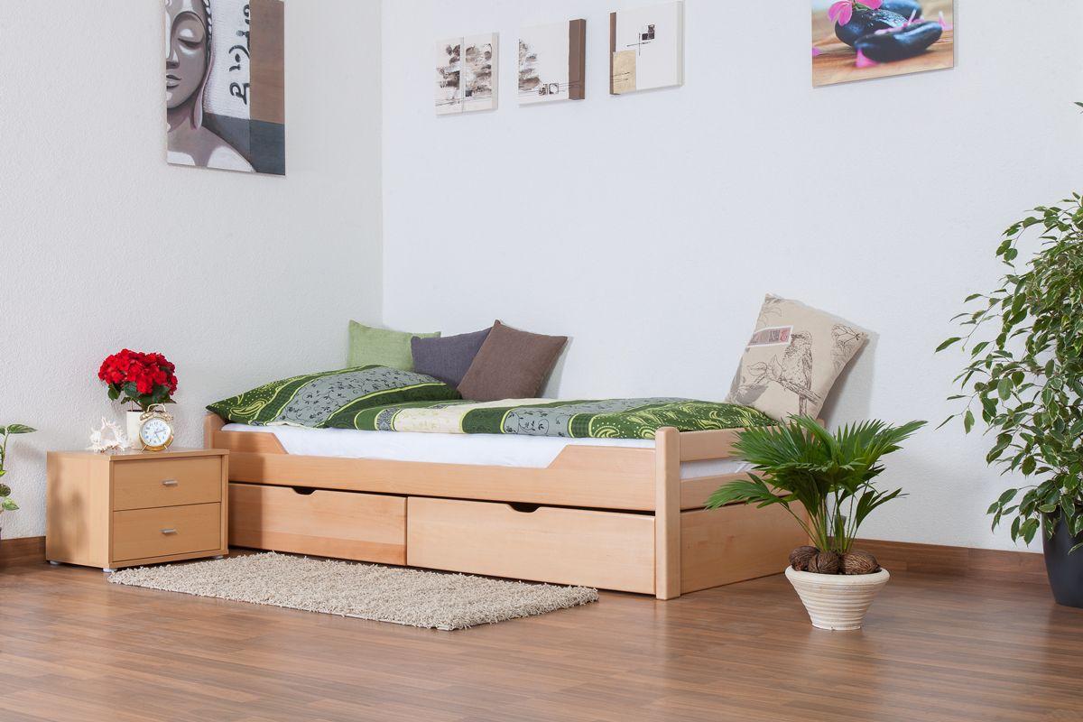 """Eenpersoonsbed """"Easy Premium Line"""" K1/1n incl. 2 laden en 2 afdekpanelen, 90 x 200 cm massief beukenhout naturel"""