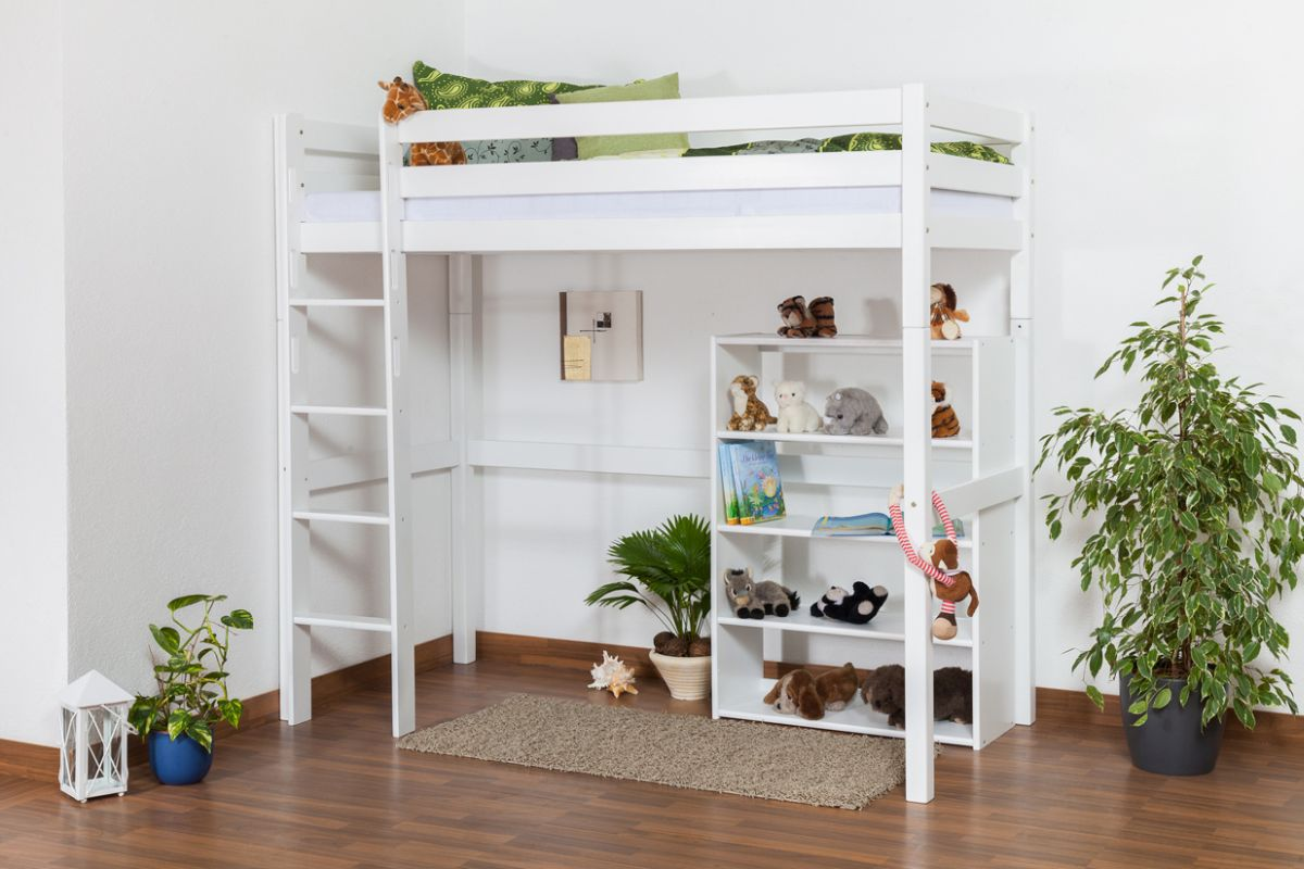 hoogslaper / hoog bed / kinderbed Dominik massief beukenhout massief wit gelakt incl. rol lattenbodem - 90 x 200 cm