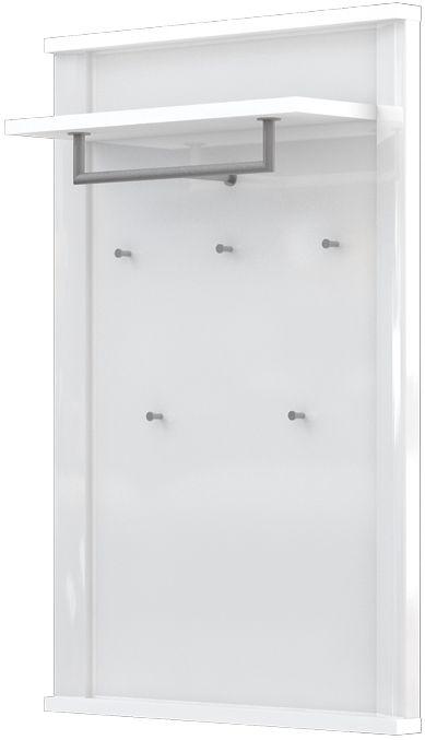 garderobe/kapstok Sili 03, kleur: wit - Afmetingen: 121 x 80 x 29 cm (H x B x D)