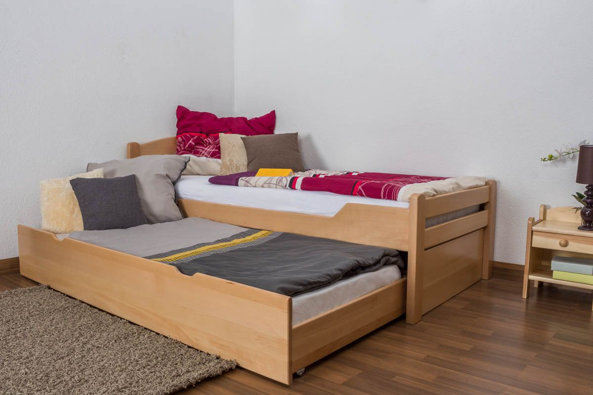 """Eenpersoonsbed / stapelbed """"Easy Premium Line"""" K1/h Volledig incl. 2e slaapplaats en 2 afdekplaten, 90 x 200 cm massief beukenhout natuur"""