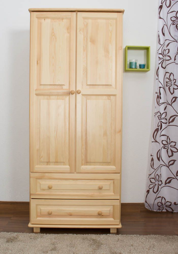 Kledingkast massief grenenhout natuur 011 - Afmetingen 190 x 80 x 60 cm (H x B x D)