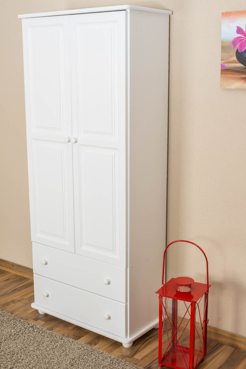 Kast massief grenen wit Junco 33 - afmetingen 195 x 84 x 42 cm