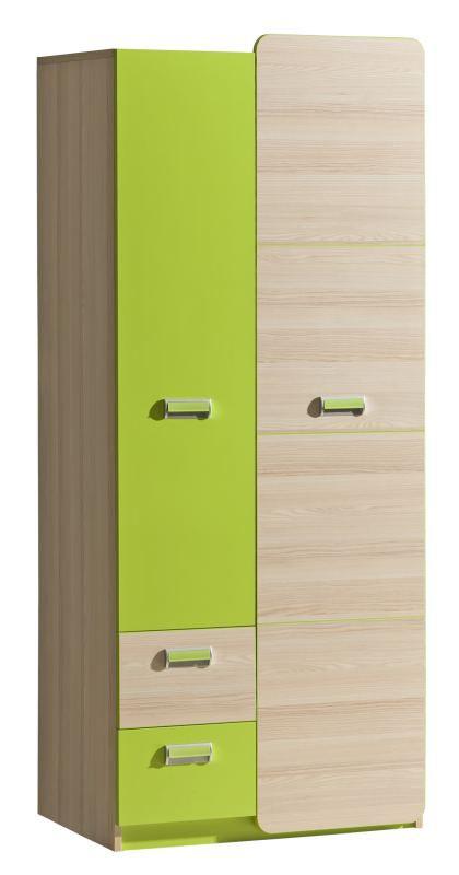 Jeugdkamer / tienerkamer - Draaideurkast / kledingkast Dennis 01, kleur: essen / groen - Afmetingen: 188 x 80 x 52 cm (H x B x D)