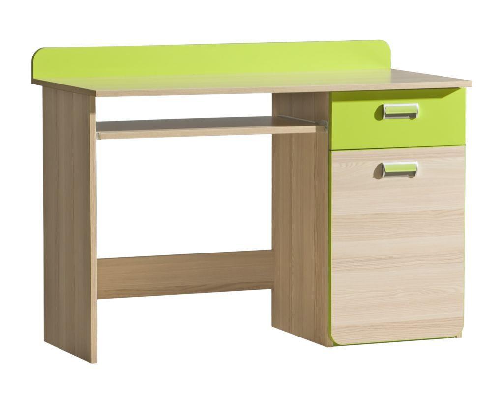Jeugdkamer / tienerkamer - Bureau Dennis 10, kleur: essen / groen - Afmetingen: 87 x 120 x 55 cm (h x b x d)