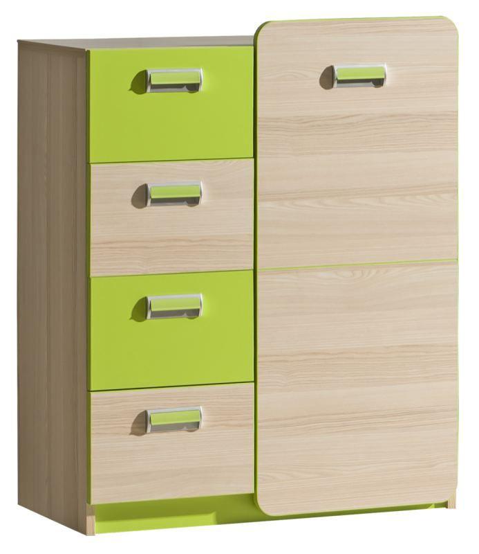 Jeugdkamer / tienerkamer - dressoir / ladekast Dennis 06, kleur: essen / groen - afmetingen: 100 x 80 x 40 cm (h x b x d)