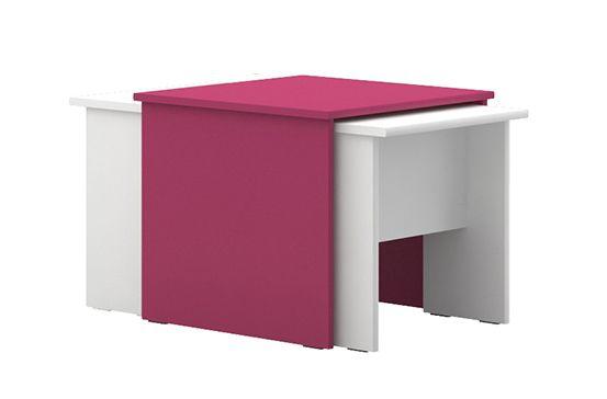 Kinderkamer - Tafel Lena 07, 3 delen, kleur: wit / roze - Afmetingen: 49 x 55 x 64 cm (H x B x D)