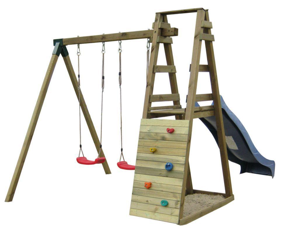 twee schommel planken met glijbaan en klimwand 1A - Afmetingen: 245 x 205 cm