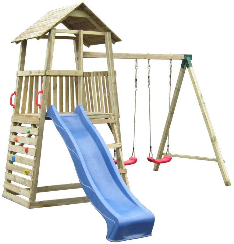 Speeltoren 8A incl. golfglijbaan, dubbele schommel aanbouw en klimwand - afmetingen: 345 x 370 cm
