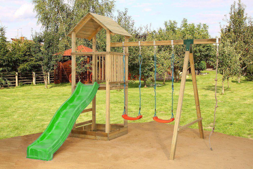 Speeltoren V1 incl. golfglijbaan, dubbele schommel aanbouw en klimtouw