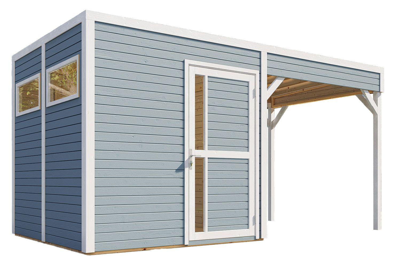 tuinhuis Basel 02 met uitbouw dak incl. vloer en dakleer, lichtgrijs gelakt - 19 mm geprefabriceerd tuinhuis, bruikbare grondoppervlakte: 5,10 m², plat dak