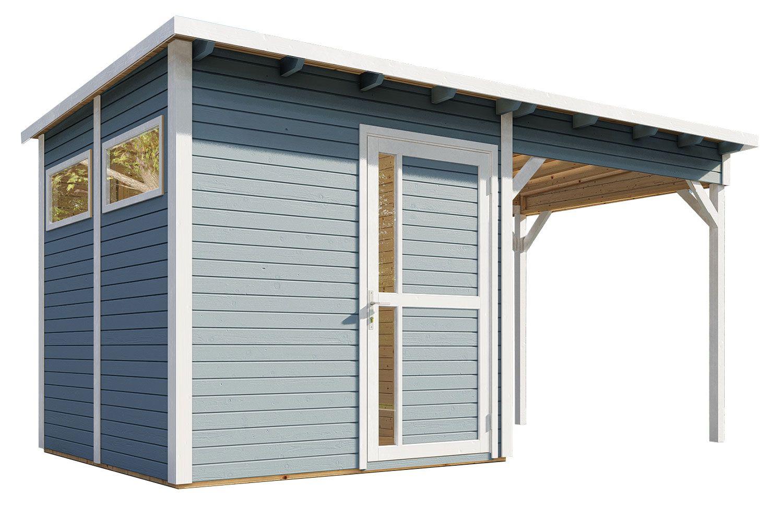 tuinhuis Kiel 02 met aanbouwdak incl. vloer en dakleer, lichtgrijs gelakt - 19 mm element tuinhuis, bruikbare oppervlakte: 5,10 m², plat dak