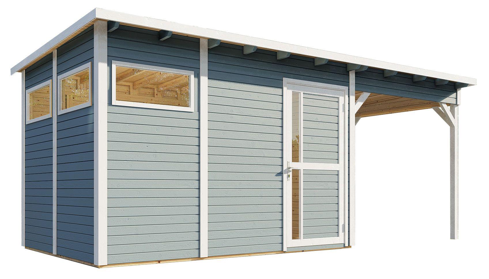 tuinhuis Kiel 03 met aanbouwdak incl. vloer en dakleer, lichtgrijs gelakt - 19 mm element tuinhuis, bruikbare grondoppervlakte: 7,70 m², plat dak